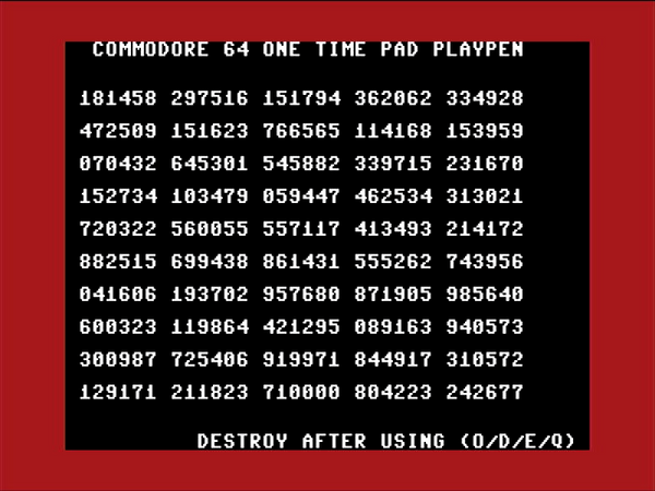 Making and breaking Ciphers on the Commodore 64 Part 11 - One time pads on a Commodore 64, probably a bad idea